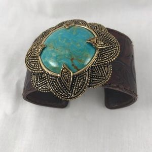 Bracelet.. Leather, with turquoise /gold  design